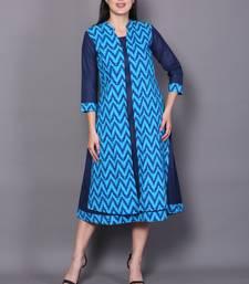 Blue embroidered cotton cotton-kurtis