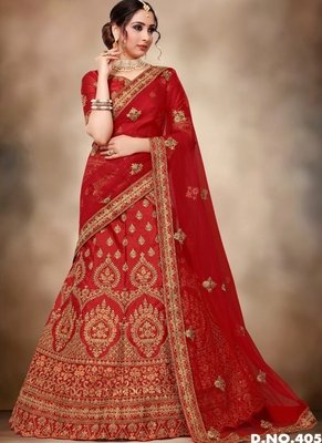 Red thread embroidery silk semi stitched lehenga