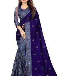 Blue and Net Vichitra Silk Embriodered  saree with Blouse Piece.