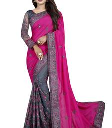 Pink and Grey Vichitra Silk and Net Embriodered Designer Saree With Blouse piece.