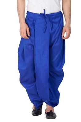 Blue plain silk blend dhotis