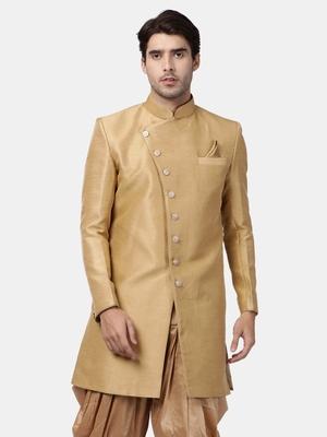 Beige plain silk blend sherwani
