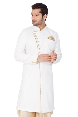 White plain silk blend sherwani