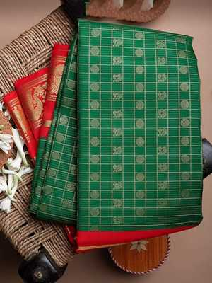 Green & Red woven Banarasi silk saree with blouse