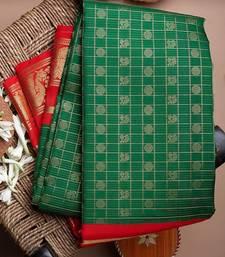 Green & Red woven Banarasi silk saree with blouse