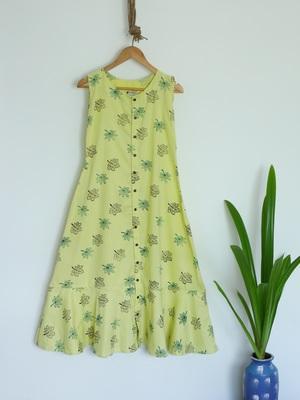Khadi Maxi Dress with Maple leaf prints