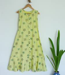 Khadi Maxi Dress with Maple leaf prints