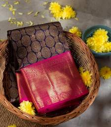 Blue & Pink woven Banarasi silk saree with blouse