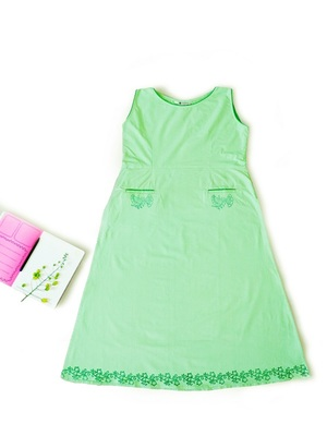 Cool parrot green with hand block print design & pockets at front Sleeveless Kurti