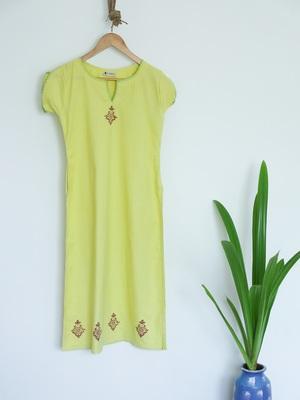 Lemon Green Khadi A-line with Cutout neck and thread work Kurti with Block prints