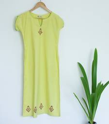 Lemon Green Khadi A-line with Cutout neck and thread work Kurti with Block prints