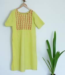 Lemon Yellow Round Neck with Sleeves Till Elbows Premium Khadi Kurta