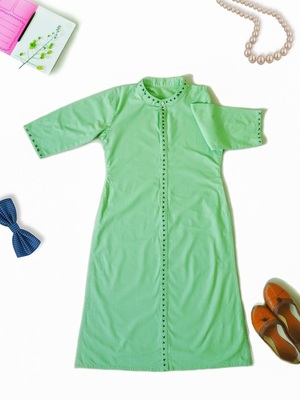 Parrot Green Ladies Pathani Kurta