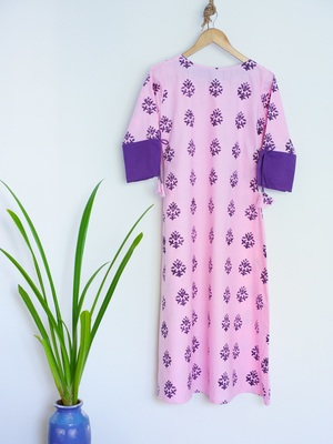 Purple Kurti With Hand Block Print Design and Sleeves Dori