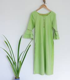 Round neck Parrot Green Ladies kurta With Bell Sleeves