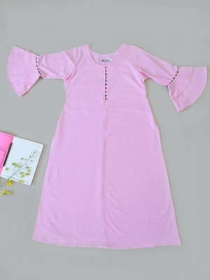 Solid Salmon Pink Premium Khadi Kurta with Bell Sleeves