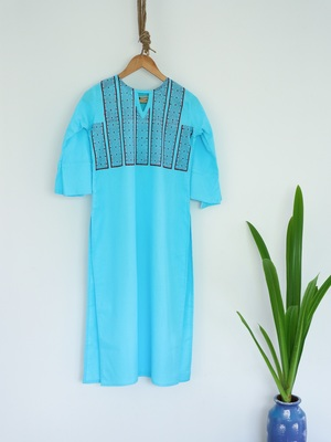 Turquoise Blue Color With Hand Block Print Design Kurta with Cutout neck