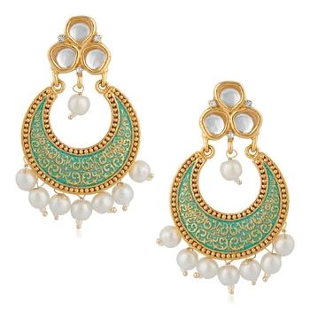 Light green pearl danglers-drops