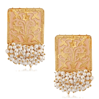 Pink pearl danglers-drops