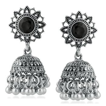 Black pearl jhumkas