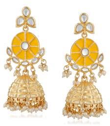 Yellow pearl jhumkas