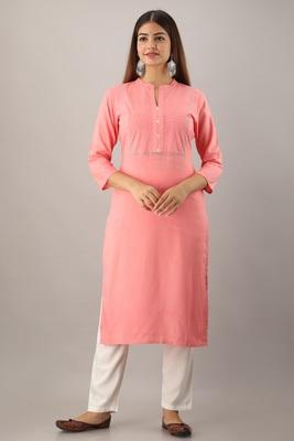 Pink embroidered rayon embroidered-kurtis