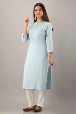 Sky-blue embroidered rayon embroidered-kurtis
