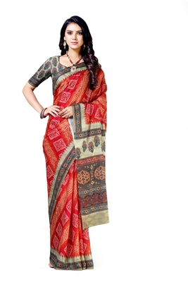 Orange printed silk blend saree with blouse
