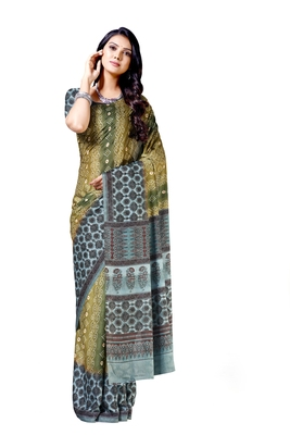 Mehendi printed silk blend saree with blouse