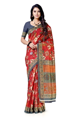Red woven chanderi saree with blouse