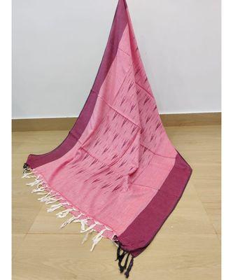 pink cotton ikkat dupatta