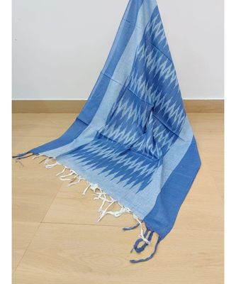 blue cotton ikkat dupatta