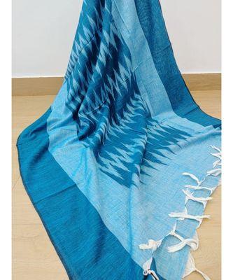 turquoise cotton ikkat dupatta