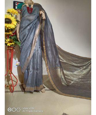 grey Silk Linen Saree