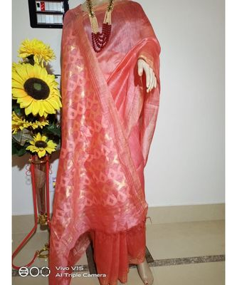 pink Silk Linen Saree