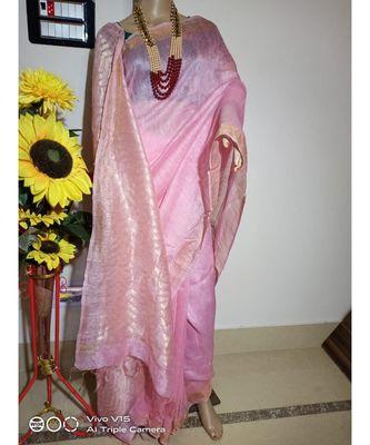 pink Silk Linen Saree