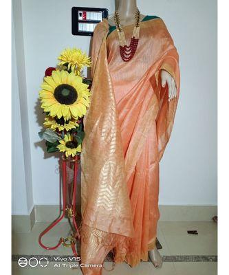 cream Silk Linen Saree