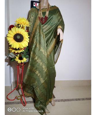 green Silk Linen Saree