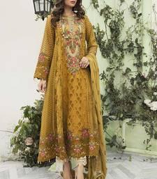 Mustard Net Pakistani Salwar Kameez