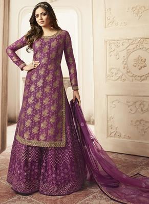 purple Jacquard Pakistani Salwar Kameez