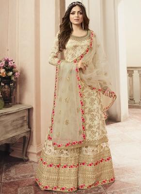 Cream Jacquard Pakistani Salwar Kameez