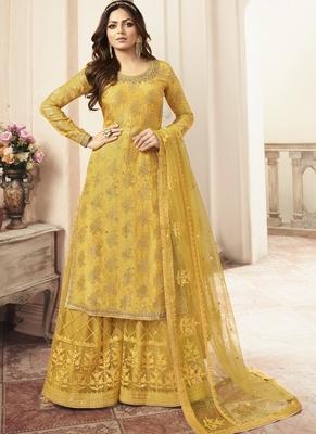 Yellow Jacquard Pakistani Salwar Kameez