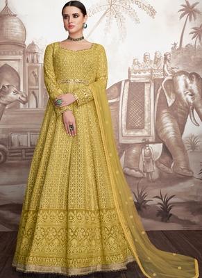 Yellow Georgette Anarkali Salwar Kameez