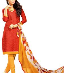 red printed chanderi unstitched dress materials