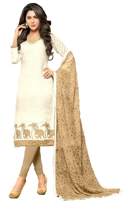 white printed chanderi unstitched dress materials