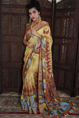 Unitex Fashion blue Linen Digital Kalamkari Printed Saree