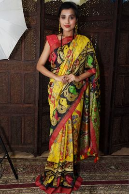 Unitex Fashion yellow Tussar Silk Digital Kalamkari Printed Saree