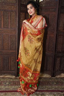 Unitex Fashion Yellow Linen Digital Kalamkari Printed Saree