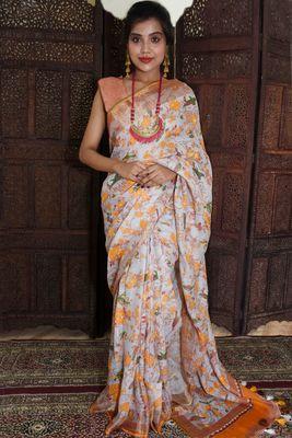 Unitex Fashion Orange Linen digital floral printed saree