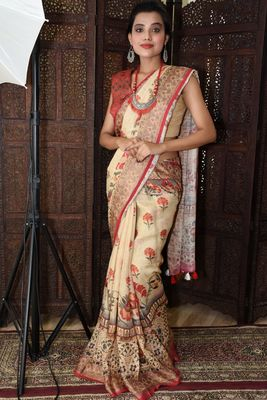 Unitex Fashion Cream Linen digital kalamkari printed saree